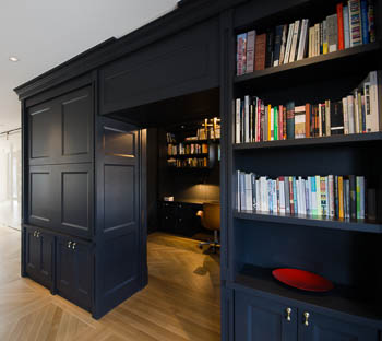 Grey library cabinets