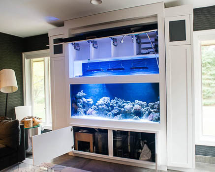 Photo of finished custom aquarium cabinet